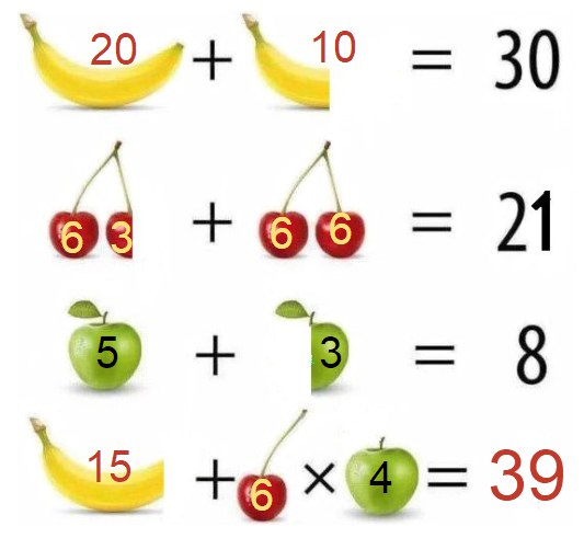 задачка в картинках на логику с бананом и часами него
